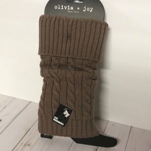 Leg Warmer cable knit mocha brown NWT boot warmers